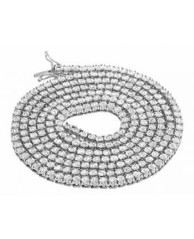 White Gold Finish 1 Row Real Diamond Necklace 18 Ins (1.25 Ct)