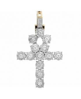14K Yellow Gold Real Diamond Cluster Ankh Pendant Cross 2 CT 1.75""