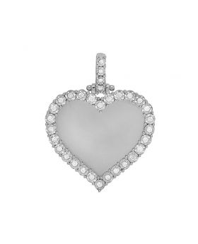 White Gold Memory Frame Heart Illusion Set Photo Engrave Pendant 0.61CT