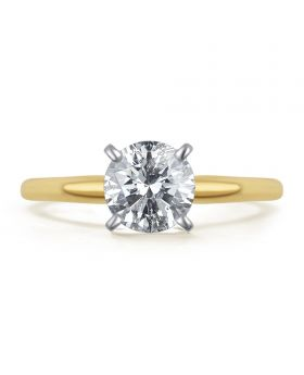 14k Yellow Gold Round Solitaire 1.0 ct Diamond Engagement Ring