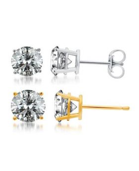 14k White or Yellow Gold Round Diamond Solitaire Studs 1.50 ct