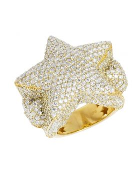 Mens Yellow Gold Pillow Superstar 3D Pinky Ring 32 MM 12.12 CT