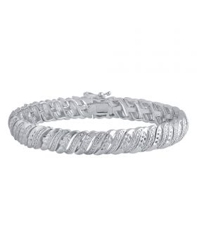 Wave Tennis Bracelet White Gold Finish Brass with Diamond Accents 1/4ct