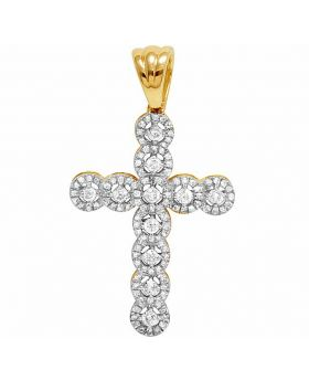10K Yellow Gold Halo Cluster Cross Real Diamond Pendant 1/2 CT 1.4""