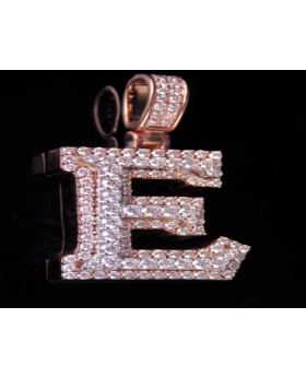 10K Rose White Gold Real Diamond Custom 3D Initial E Letter Pendant 1.75 CT 1.5""