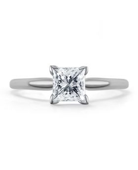 14k White Gold Princess Solitaire 1/2 ct Diamond Engagement Ring