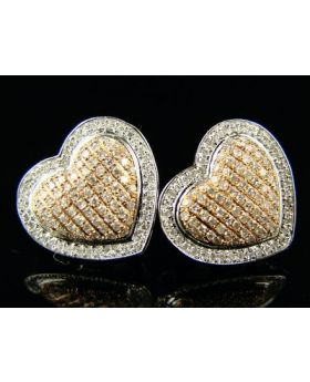 Heart Pink / White Gold Diamond Stud Earrings