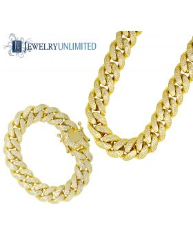 Mens Yellow Gold Finish Lab Diamond Miami Cuban Chain Necklace Bracelet
