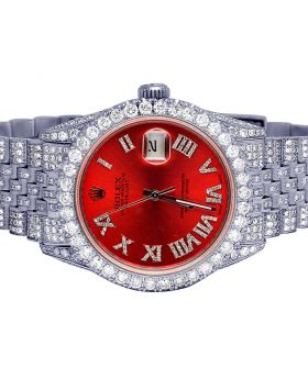 Rolex Datejust 36MM S.Steel 16014 Red Dial Diamond Watch 15.0 Ct
