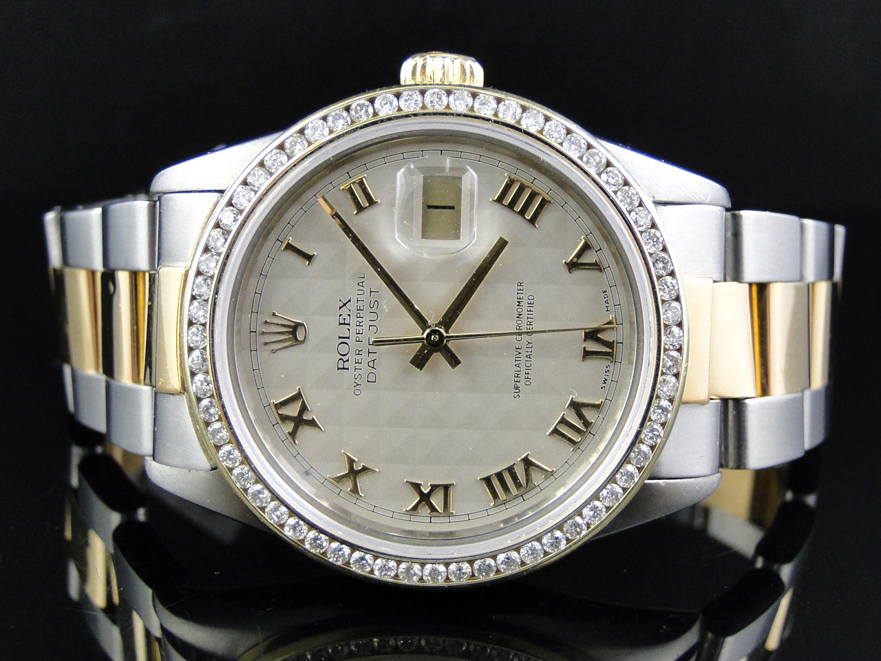 Mens Excellent 2 Tone Rolex Datejust Oyster Diamond Watch
