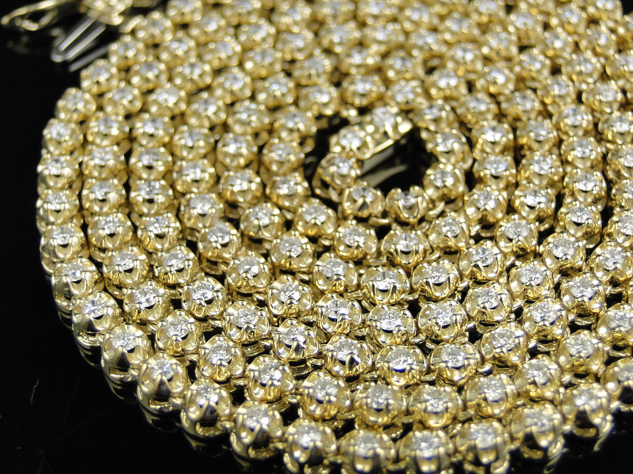 Mens Prong Set 1 Row Genuine Diamond Chain Necklace in 14k Yellow