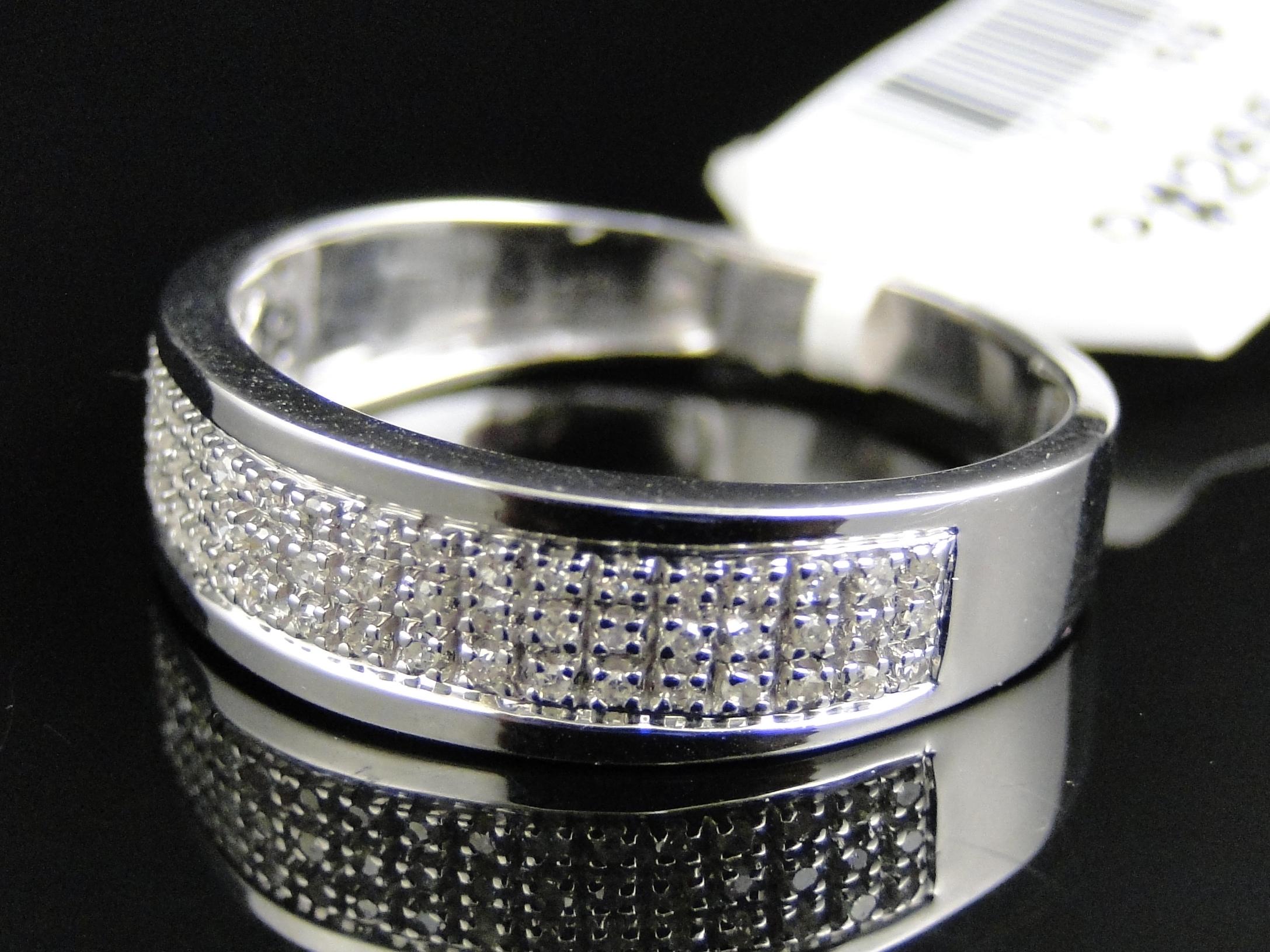 Mens 10k White Gold Diamond Pave 5 MM Wedding Engagement Band Ring