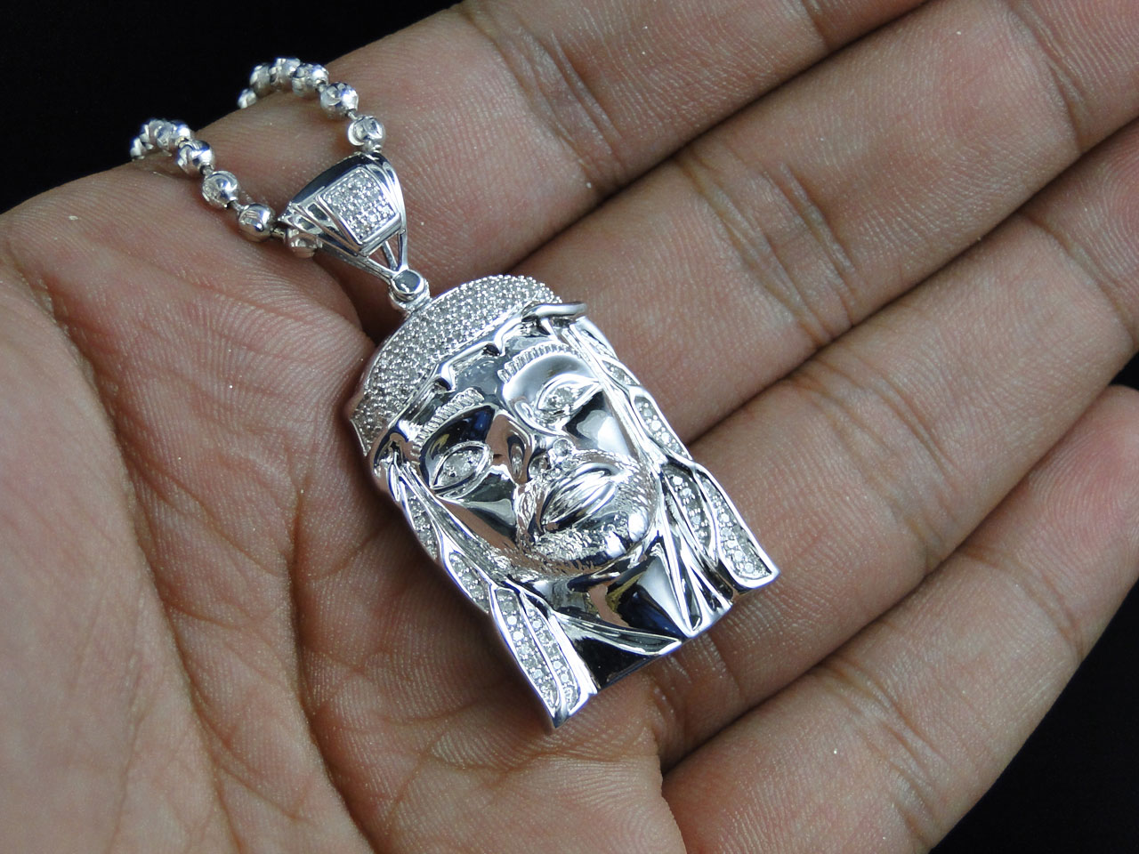 Real Diamond Jesus Face Piece Pendant Charm in Sterling Silver With Beaded Chain