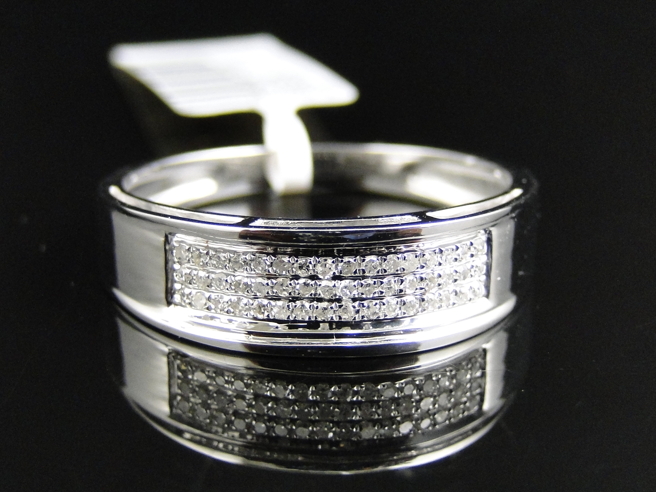 mens 10k white gold diamond pave 6 mm wedding engagement band ring