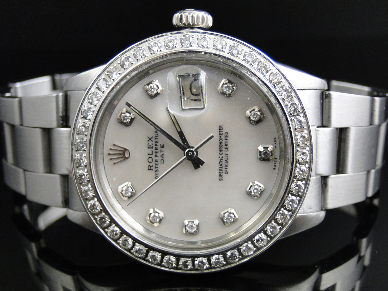 Mens stainless steel rolex datejust watch with ct diamond mop dial 686907220415 ebay for Diamond dial watch