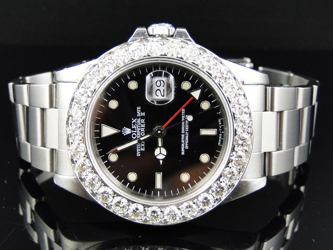 Mens 40mm Stainless Steel Rolex Explorer Ii Black Dial