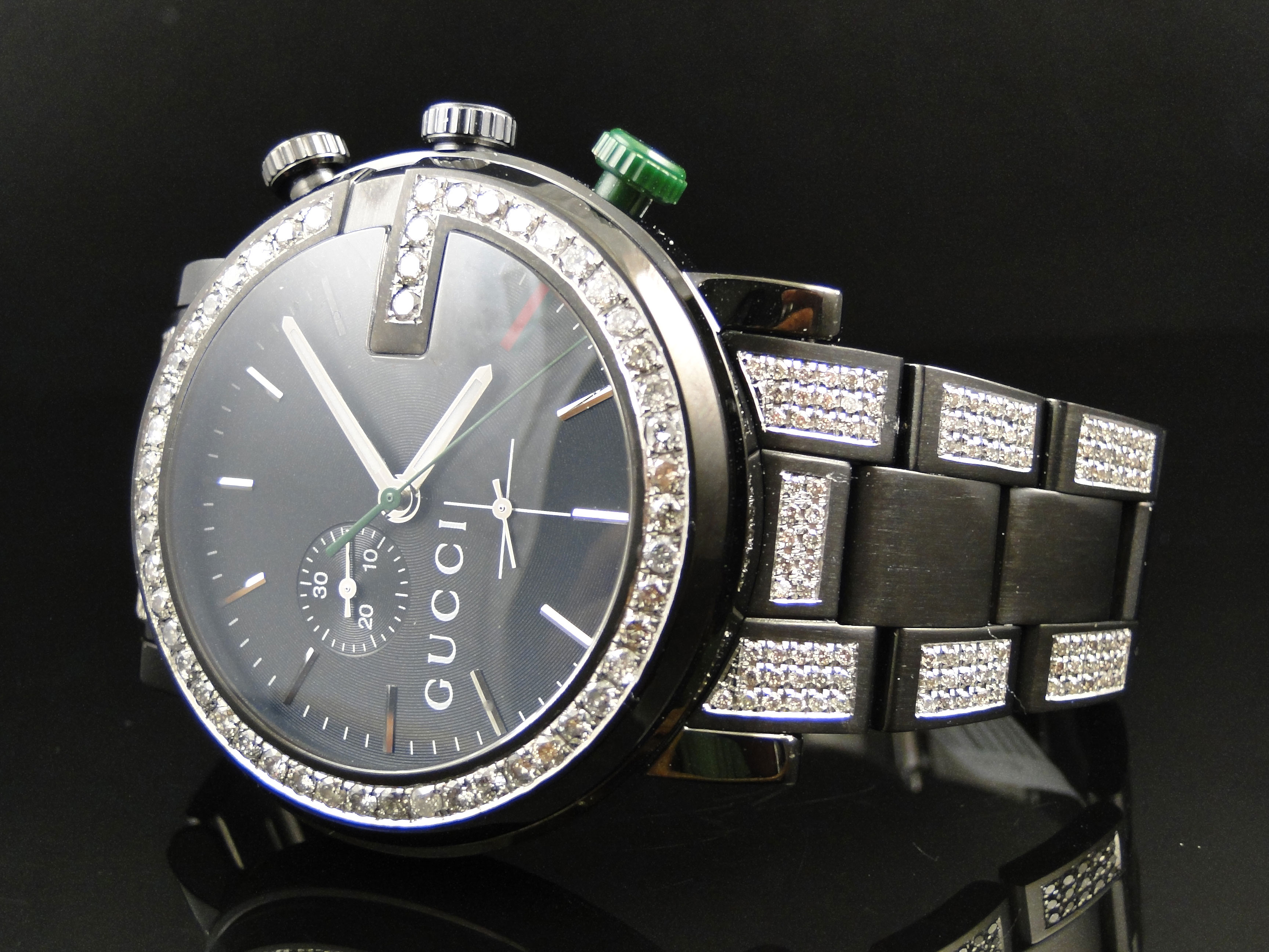 New Custom Mens Diamond Gucci Ya101331 Watch 6 5 Ct Sides