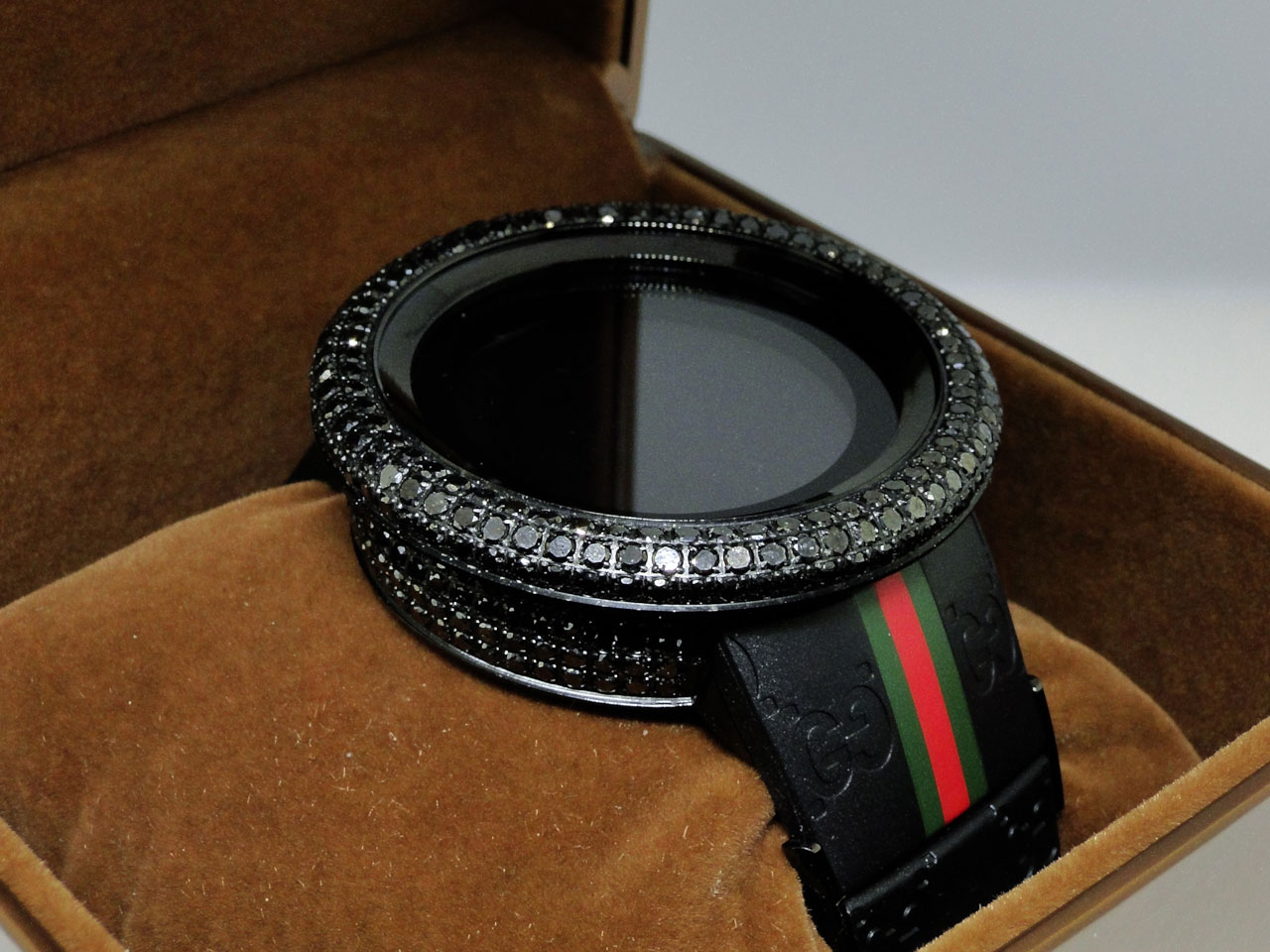 17 ct big brand new mens i gucci digital black diamond watch ya114207