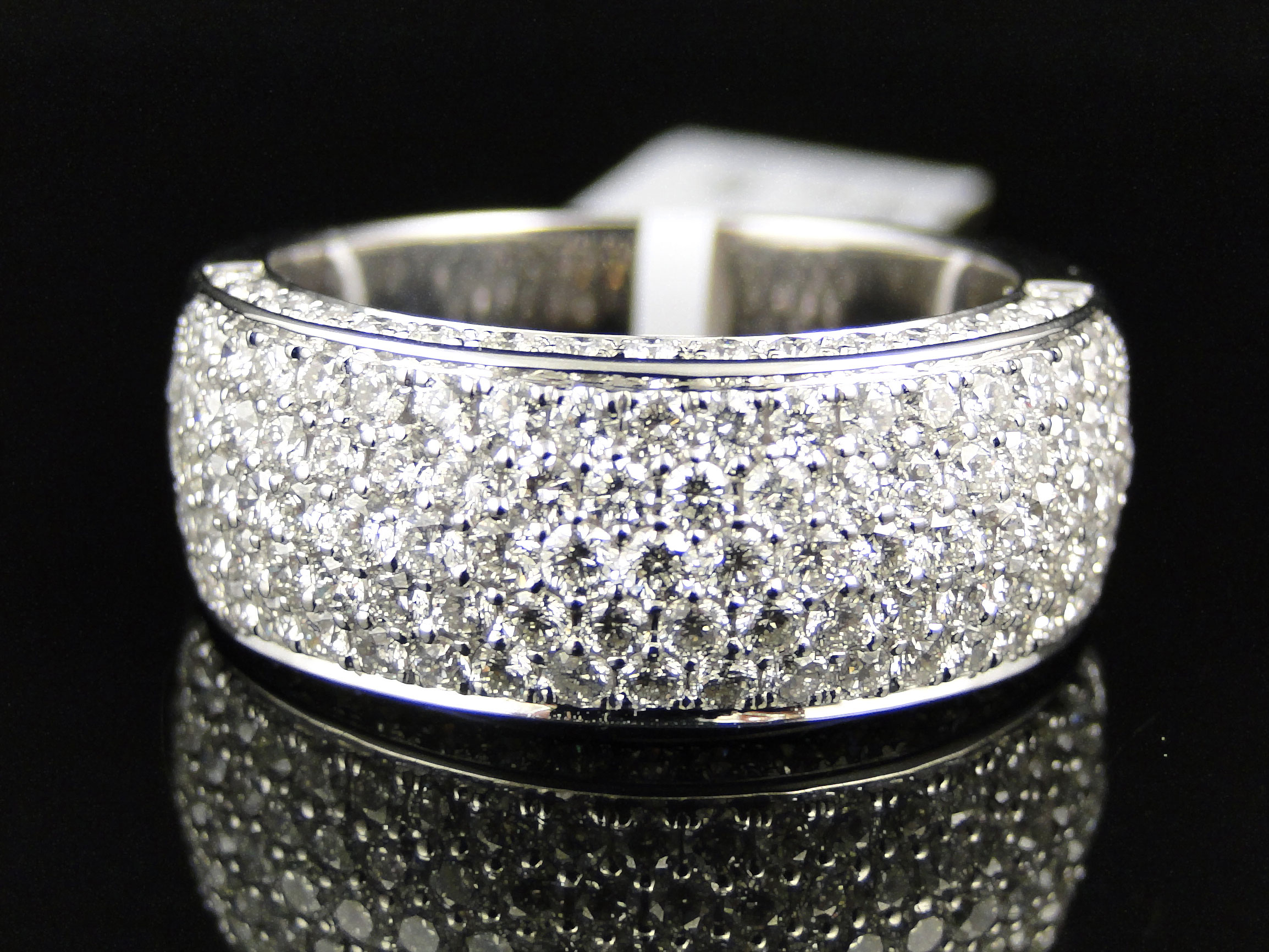 mens vs white diamond pave engagement wedding band 9 mm ring 3 0