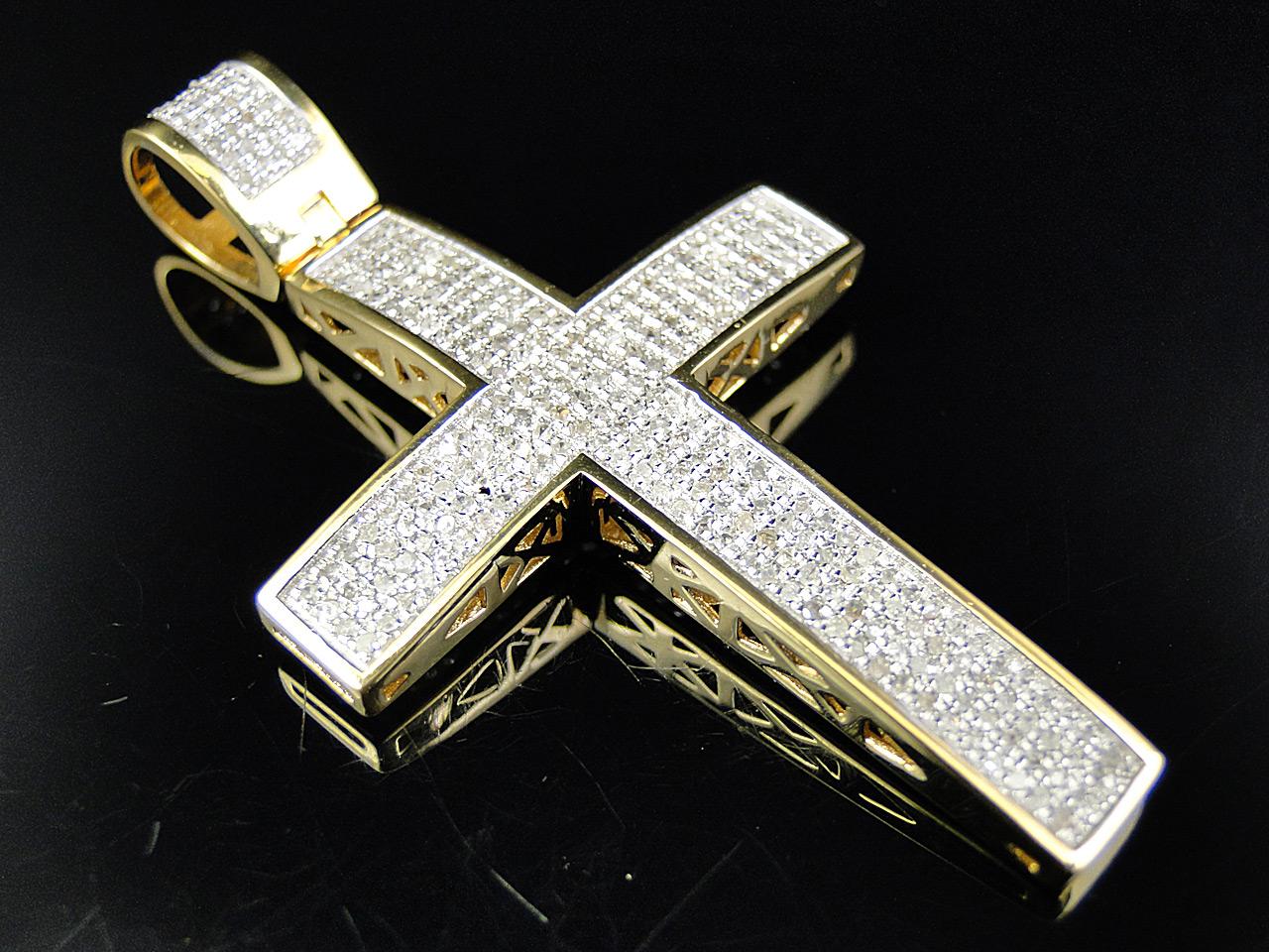 Large Genuine Diamond Cross Pendant Charm 1 25 Ct In 10k
