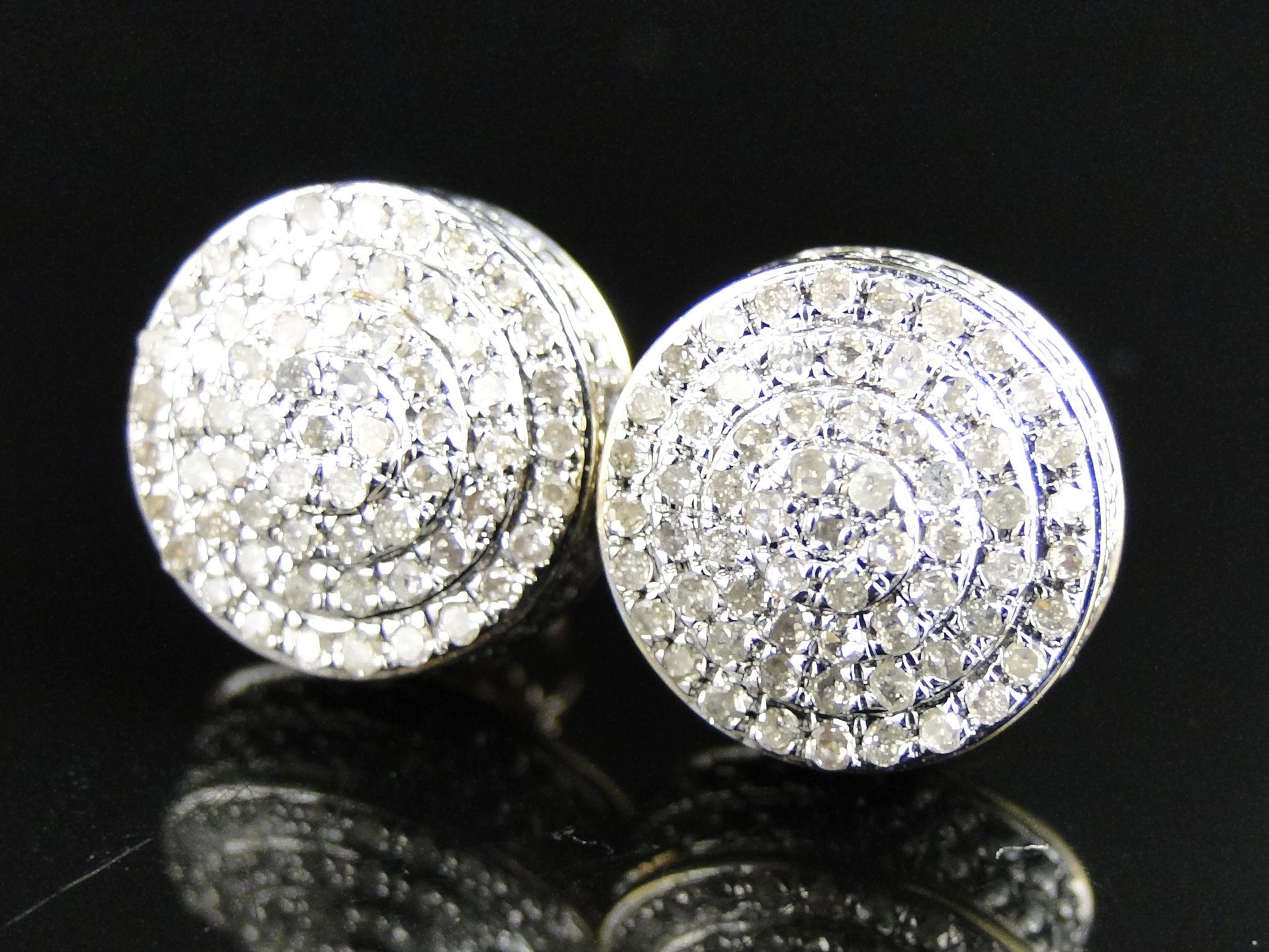 10K Yellow Gold Diamond Dome Pave Round Stud Earrings 10mm 1 0 Ct