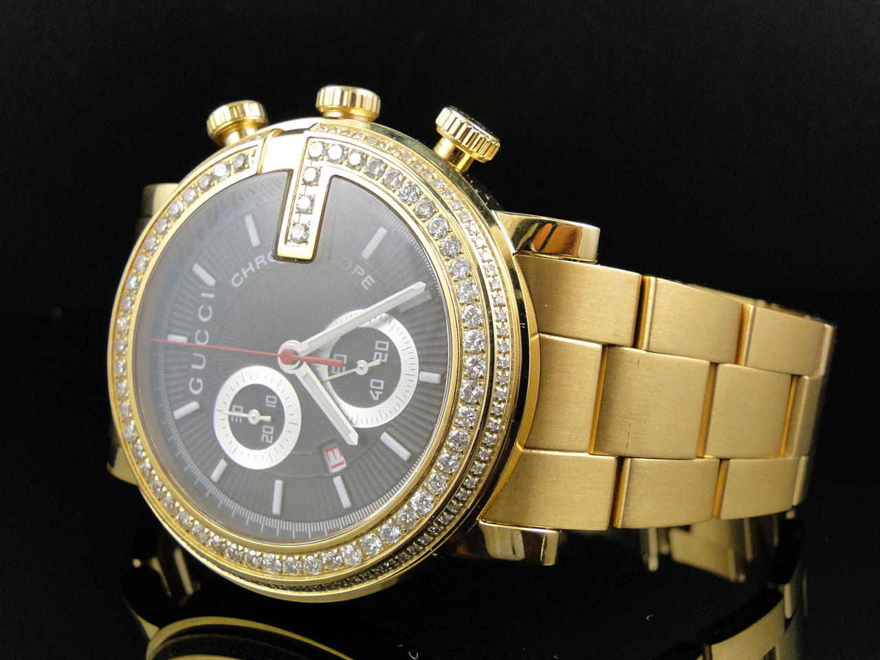 new custom mens 101 g gold pvd real 44 mm diamond gucci ya101334 new custom mens 101 g gold pvd real 44 mm diamond gucci ya101334 watch 3 25 ct