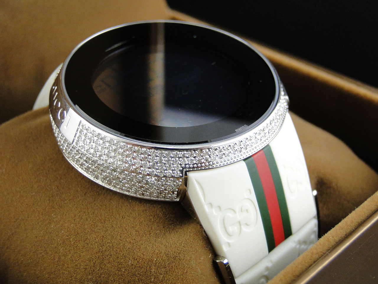 custom brand new mens i gucci digital white full diamond watch 4 custom brand new mens i gucci digital white full diamond watch 4 ct ya114214