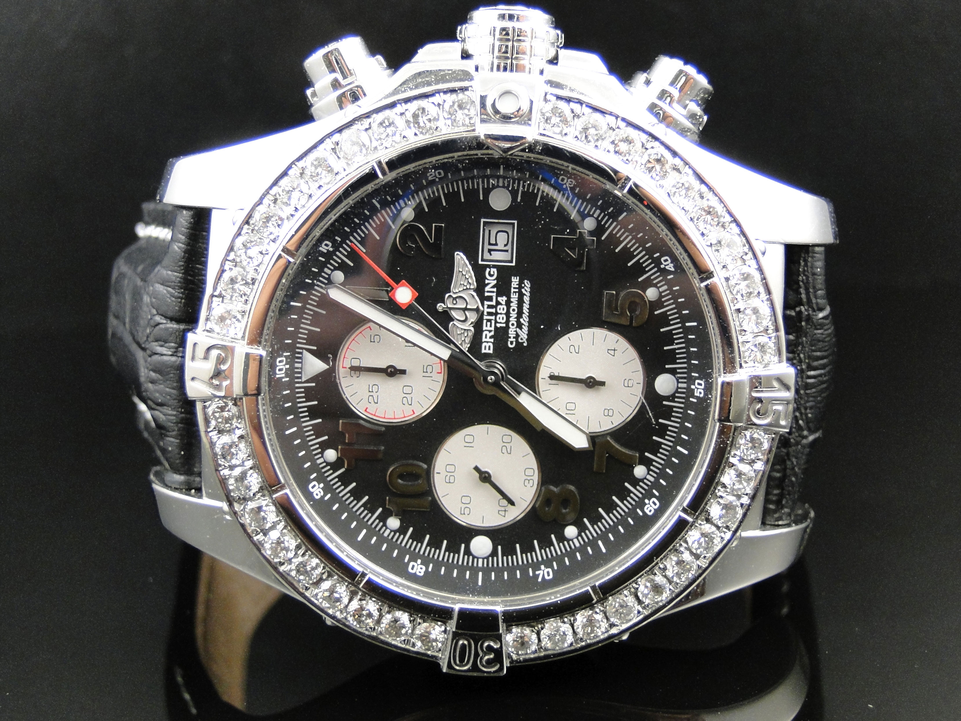 mens 1 row breitling super avenger aeromarine 48 mm. Black Bedroom Furniture Sets. Home Design Ideas
