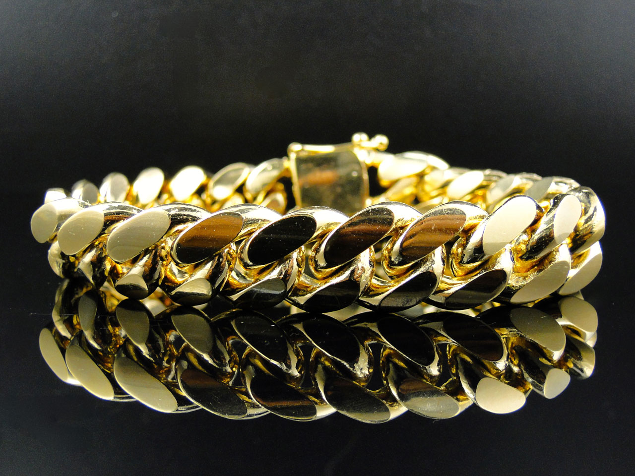 Mens Yellow Gold Finished Sterling Silver Miami Cuban