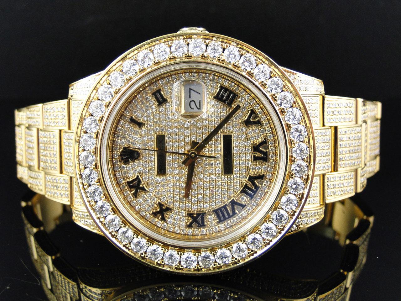 164831c84526 Reloj para Hombres en Oro Amarillo Rolex Fecha Con Diamantes Genuinos