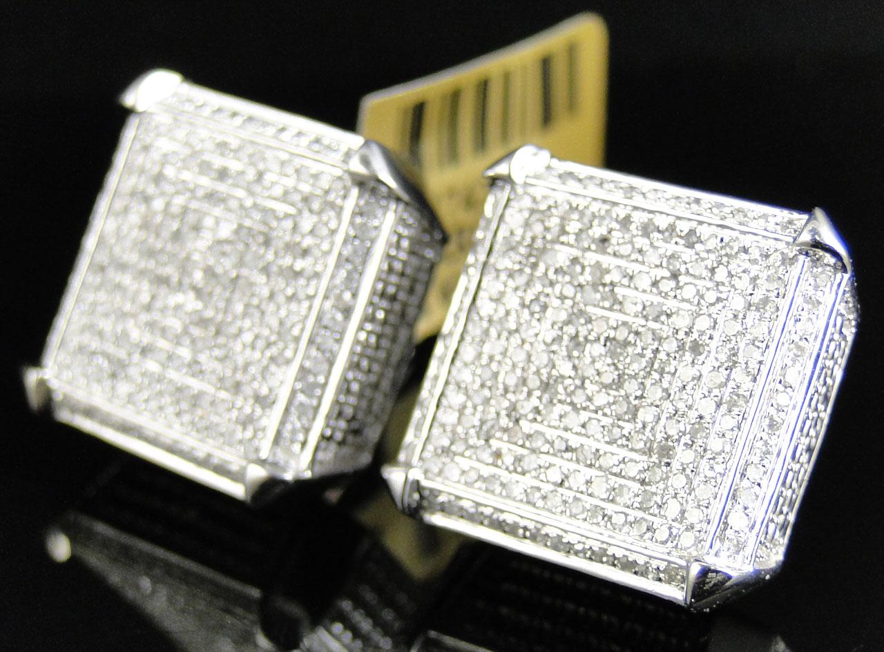 Mens Las 10k White Gold 18 Mm Diamond Pave Xl Cube Stud Earrings 1 80 Ct