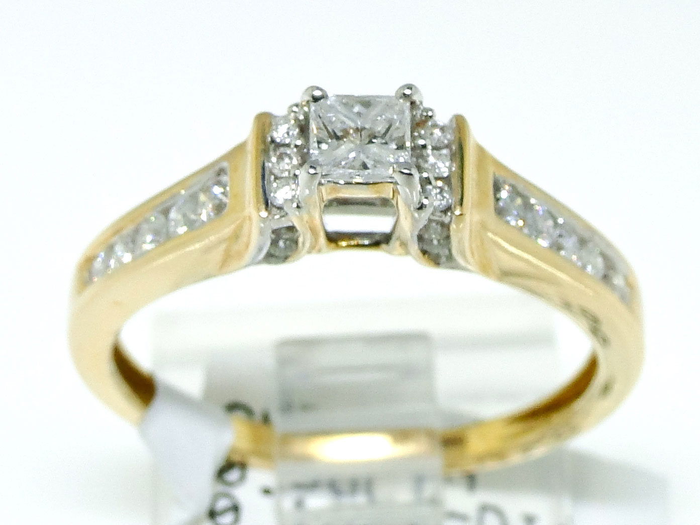 14k yellow gold princess cut engagement solitaire band