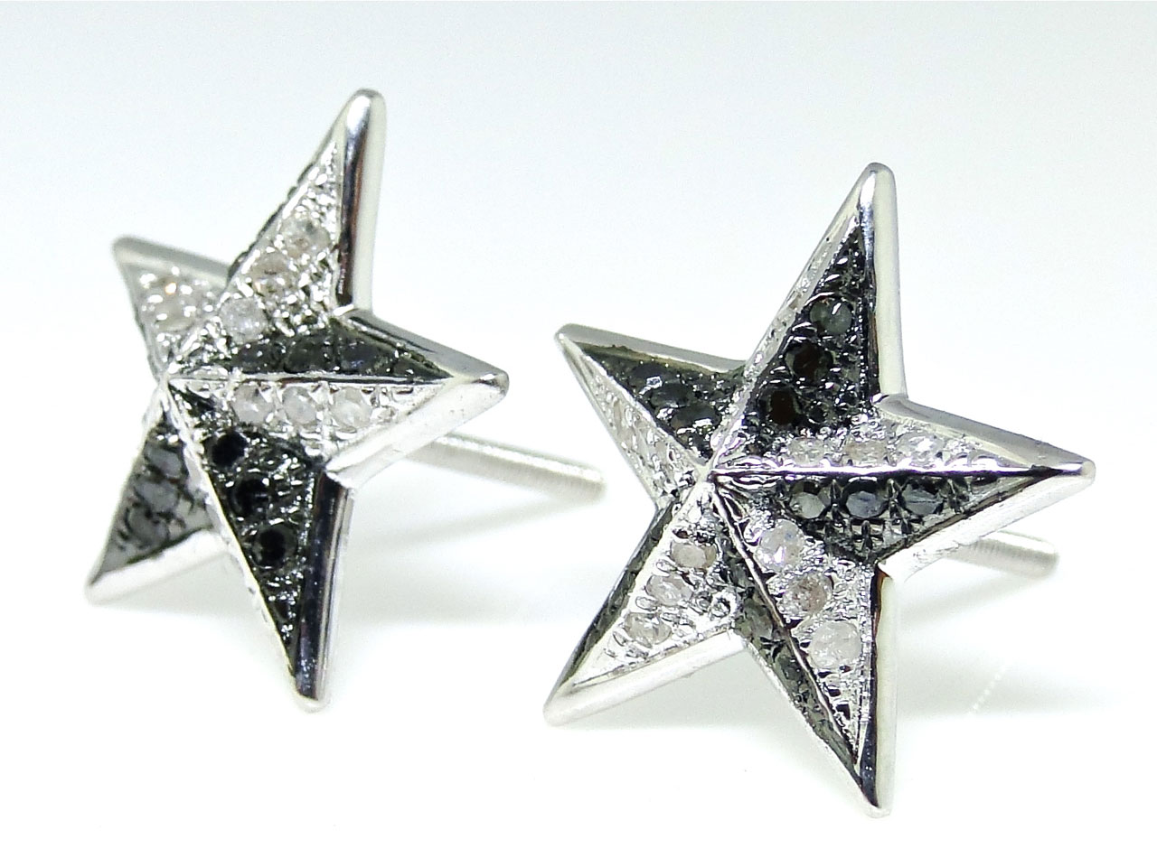 White Gold Finish Black Diamond Star Shape Stud Earrings 686907218863 Ebay