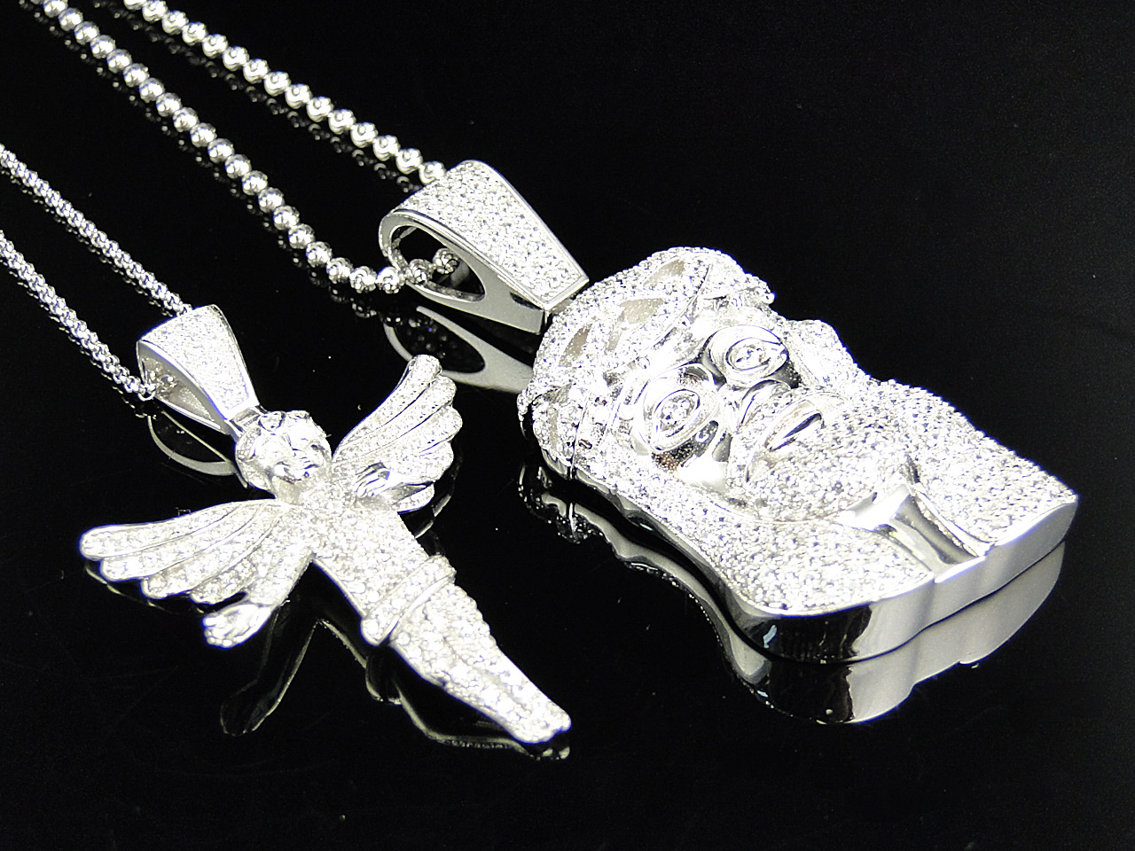 Xl 925 silver angel jesus piece lab diamond pendant chain white fully iced angel and jesus pendant chain combo finished in white gold aloadofball Image collections