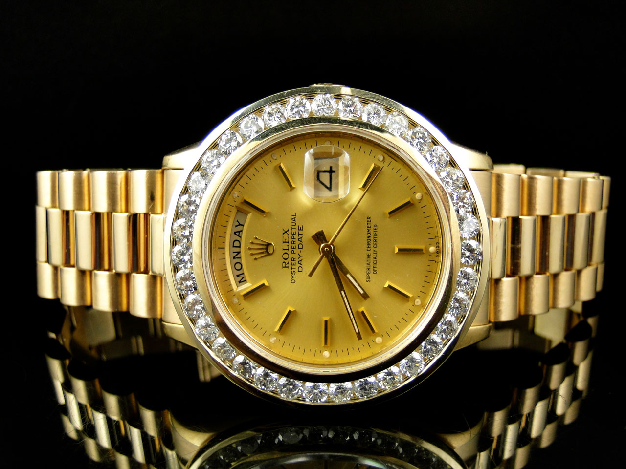 pre owned mens 36mm rolex president day date 18k yellow. Black Bedroom Furniture Sets. Home Design Ideas