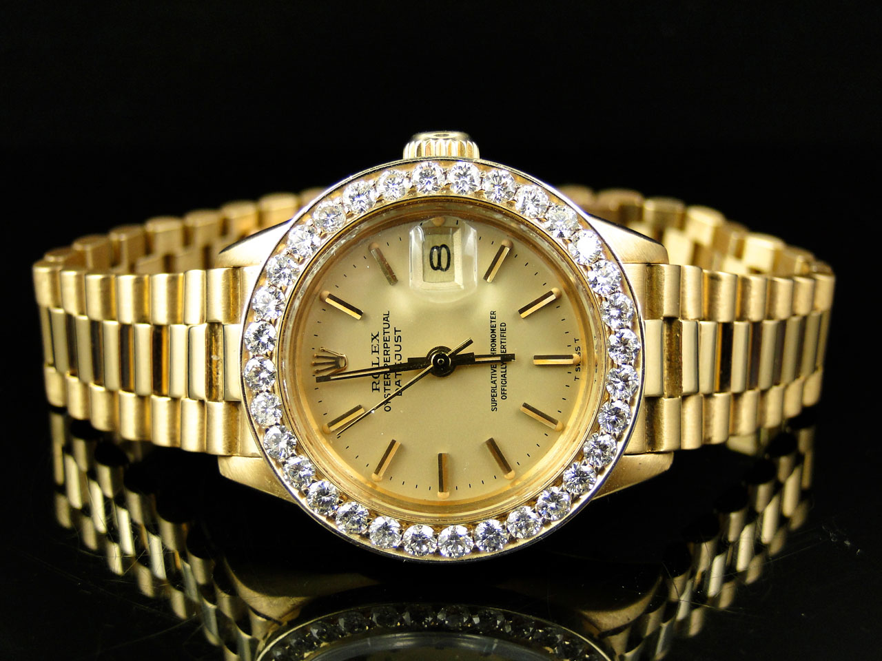 Pre owned ladies 27 mm rolex president day date 18k yellow gold diamond watch ebay for Gold timepieces watch