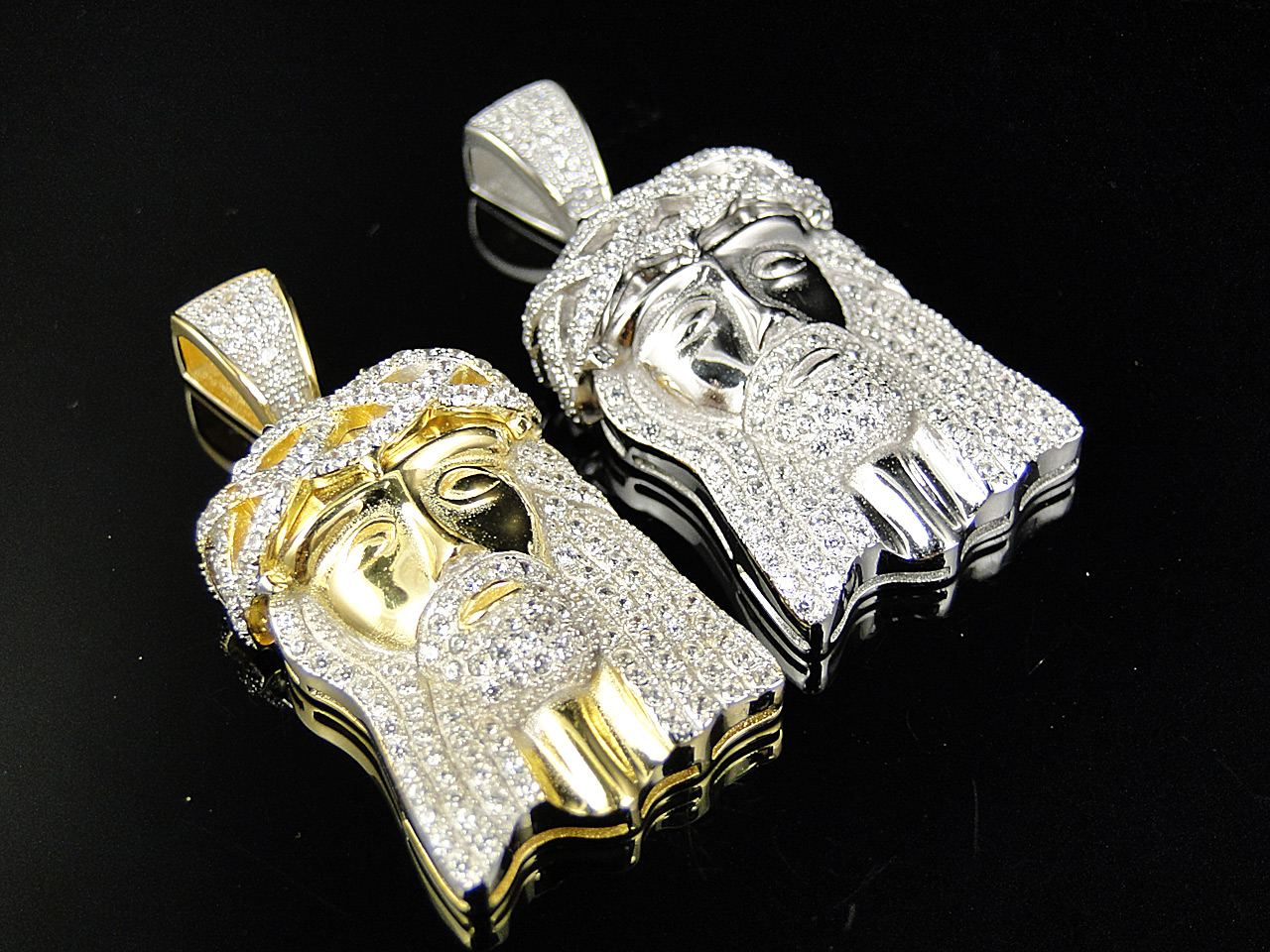 White or yellow gold 925 silver iced out mini jesus piece lab mini sterling silver iced out jesus pendant in yellow or white gold finish aloadofball Image collections