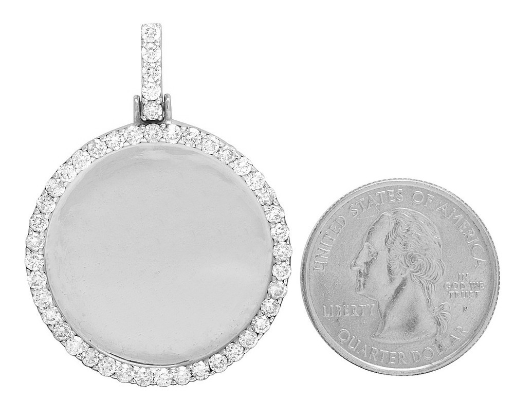 10k white gold memory frame medallion real diamond photo engrave 10k white gold memory frame medallion real diamond photo engrave pendant 3ct aloadofball Gallery