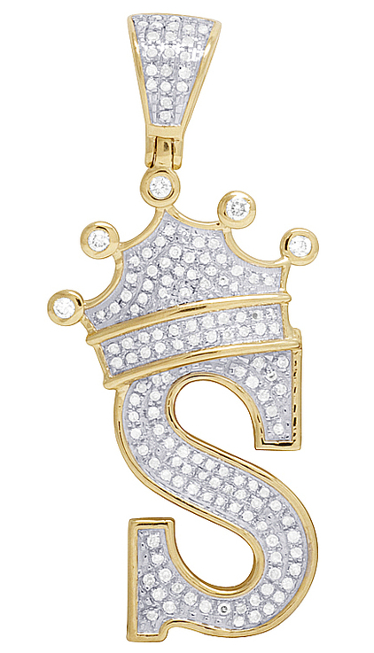 10k yellow gold genuine diamond crown letter initial s pendant 12 10k yellow gold genuine diamond crown letter initial s pendant 12 ct 175 aloadofball Choice Image