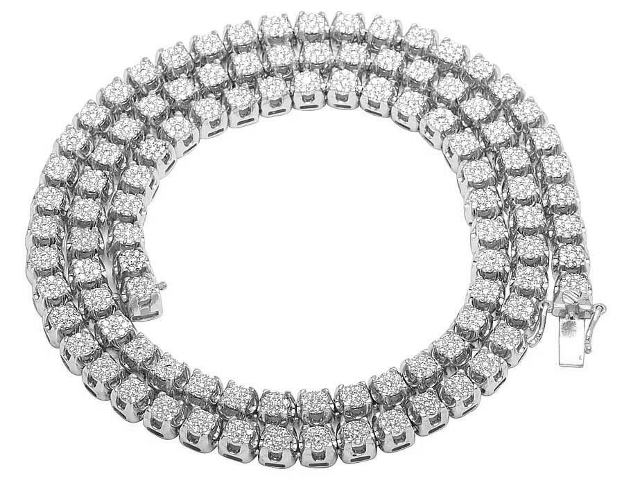 8acb7631ab6c3 Details about Men's 10K White Gold Genuine Diamond 6MM Cluster Tennis Chain  Necklace 10 Ct 24