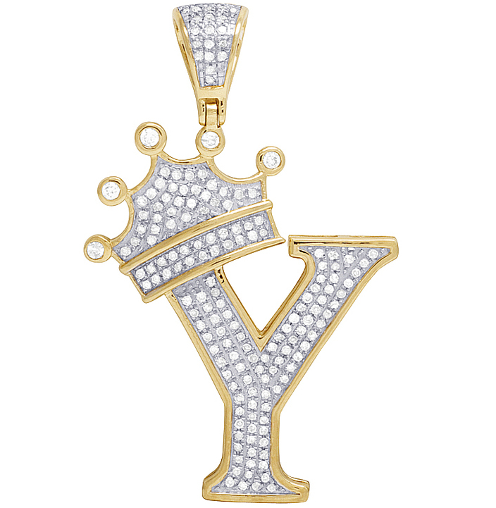 unisex 10k yellow gold real diamond tilted crown initial y pendant