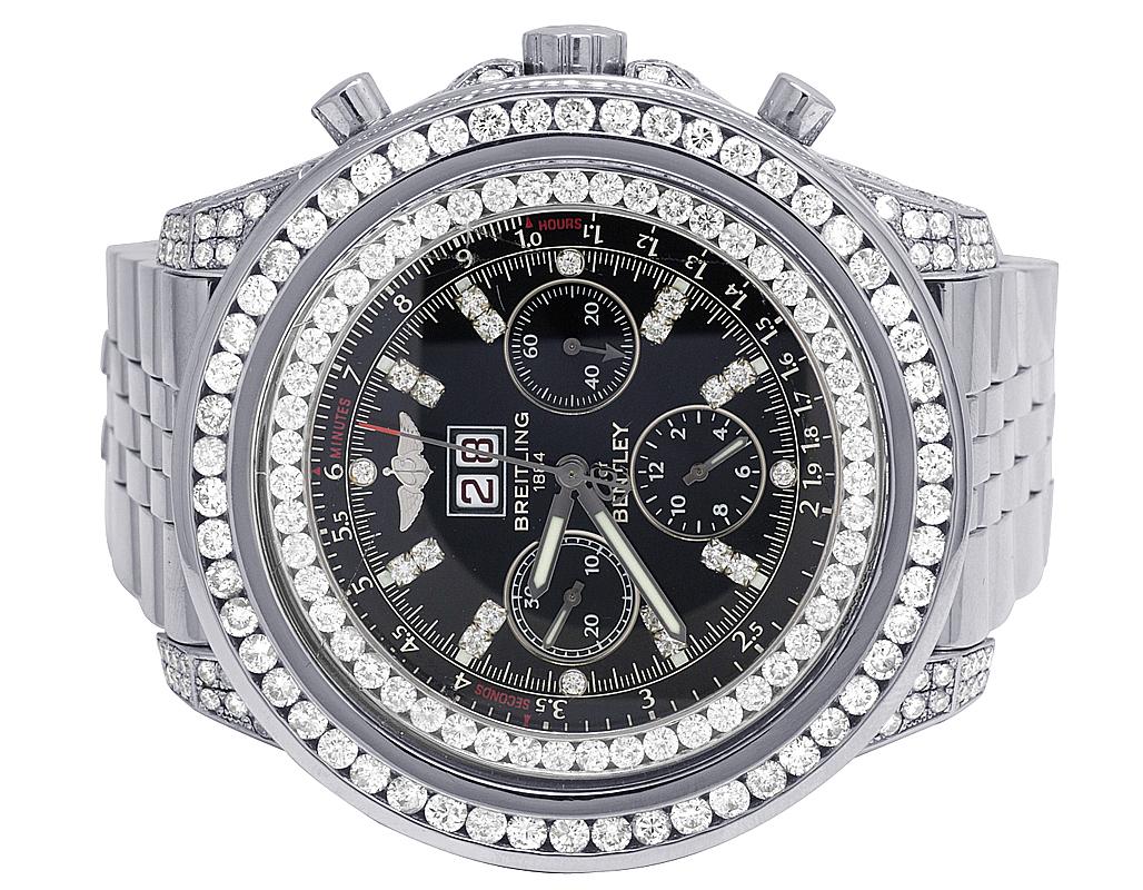 Custom Breitling Bentley 6 75 A4436412 Black 48mm S Steel Diamond Watch 10 5 Ct Ebay