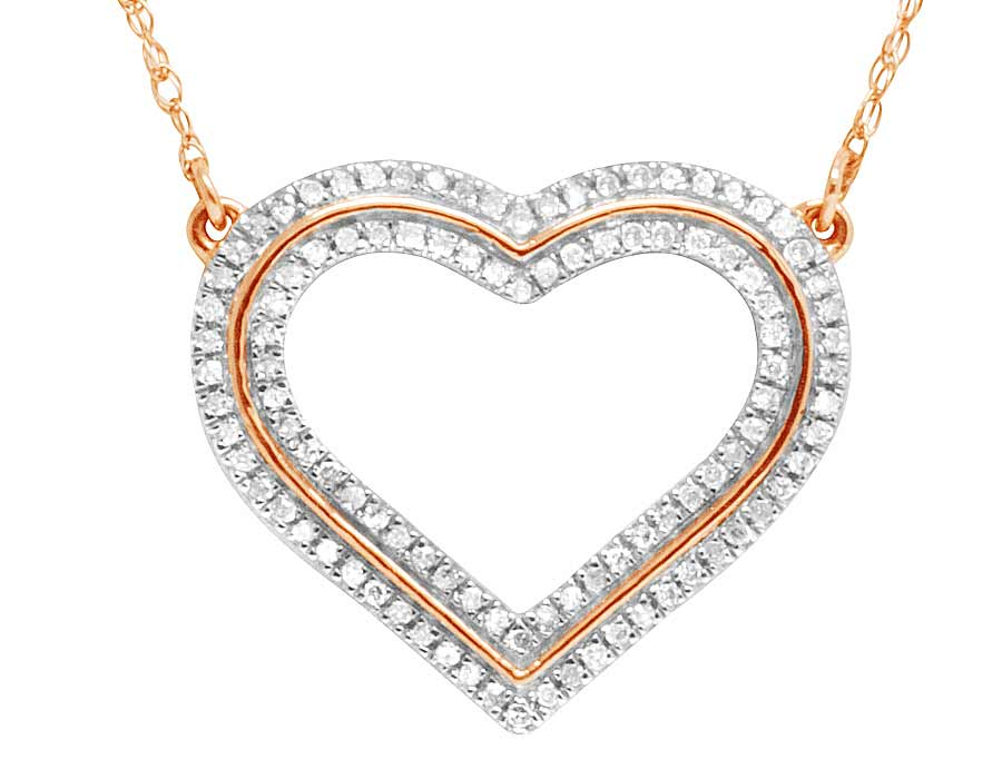 14k rose gold ladies love heart real diamond pendant necklace chain 14k rose gold ladies love heart real diamond pendant necklace chain 14 ct 15mm aloadofball Image collections