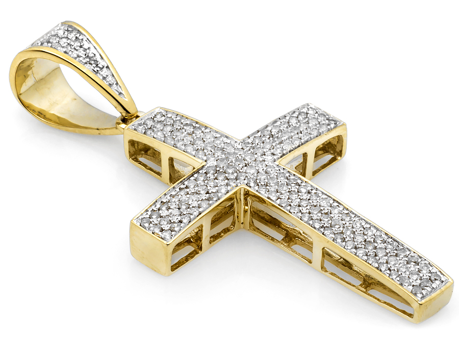Mens 10k yellow gold3 row puff pave genuine diamond cross pendant mens 10k yellow gold3 row puff pave genuine diamond cross pendant 74 ct 15 aloadofball Gallery