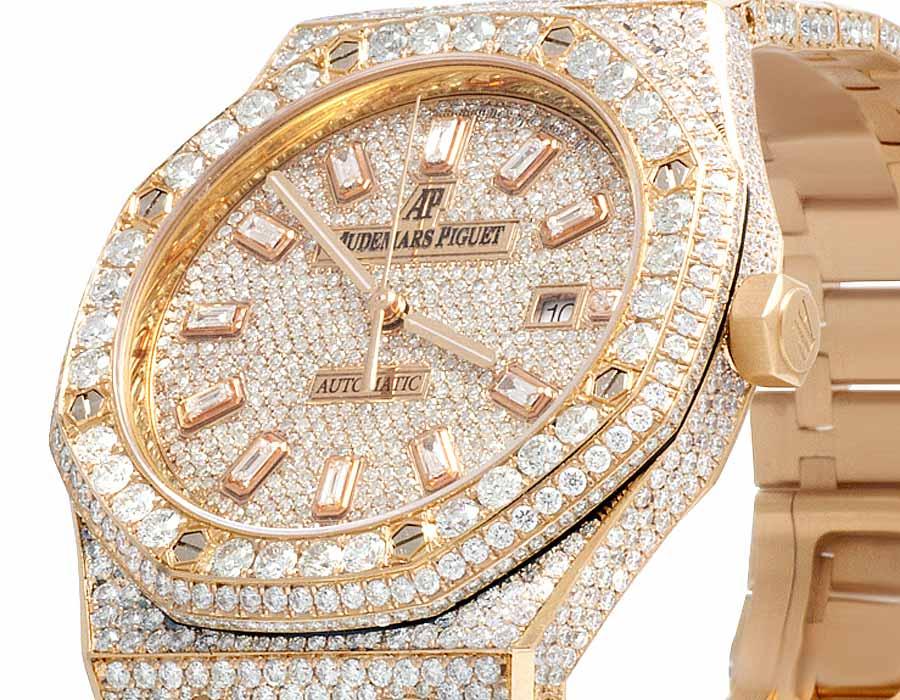 Details About Mens 41 Mm Audemars Piguet Royal Oak 18k Rose Gold With Vs Diamond 31 25 Ct
