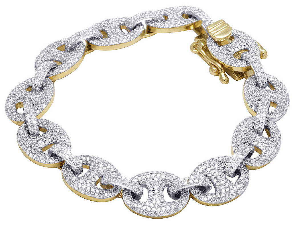 5f8ce4091b655 Details about Mens 10K Yellow Gold Genuine Diamond 12MM Puff Mariner GG  Link Bracelet 11 CT 8
