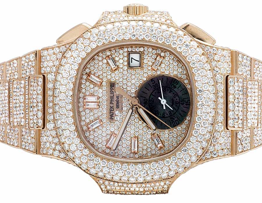 b55d4302e7a 18k Rose Gold Mens Patek Philippe Nautilus 5980/1R Pave Set Diamond Watch  32 Ct
