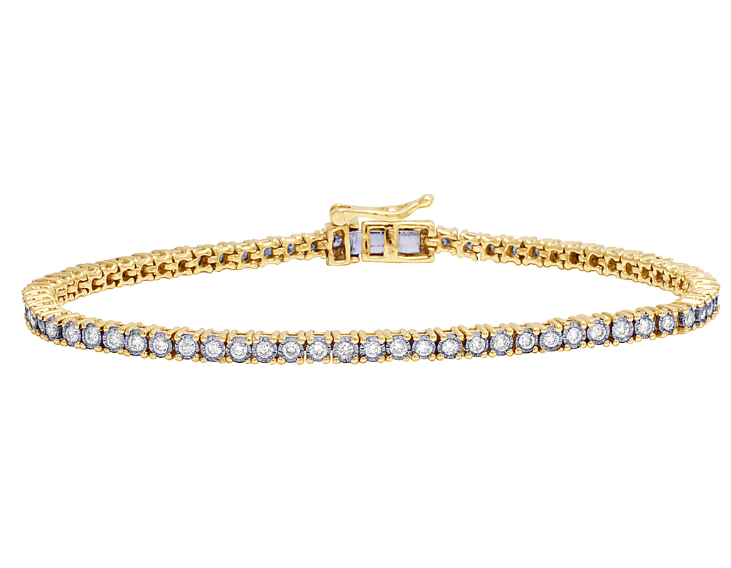Las Tennis One Row Real Diamond Bracelet 10k Yellow Gold 1 4 5 Ct 3mm 7 In