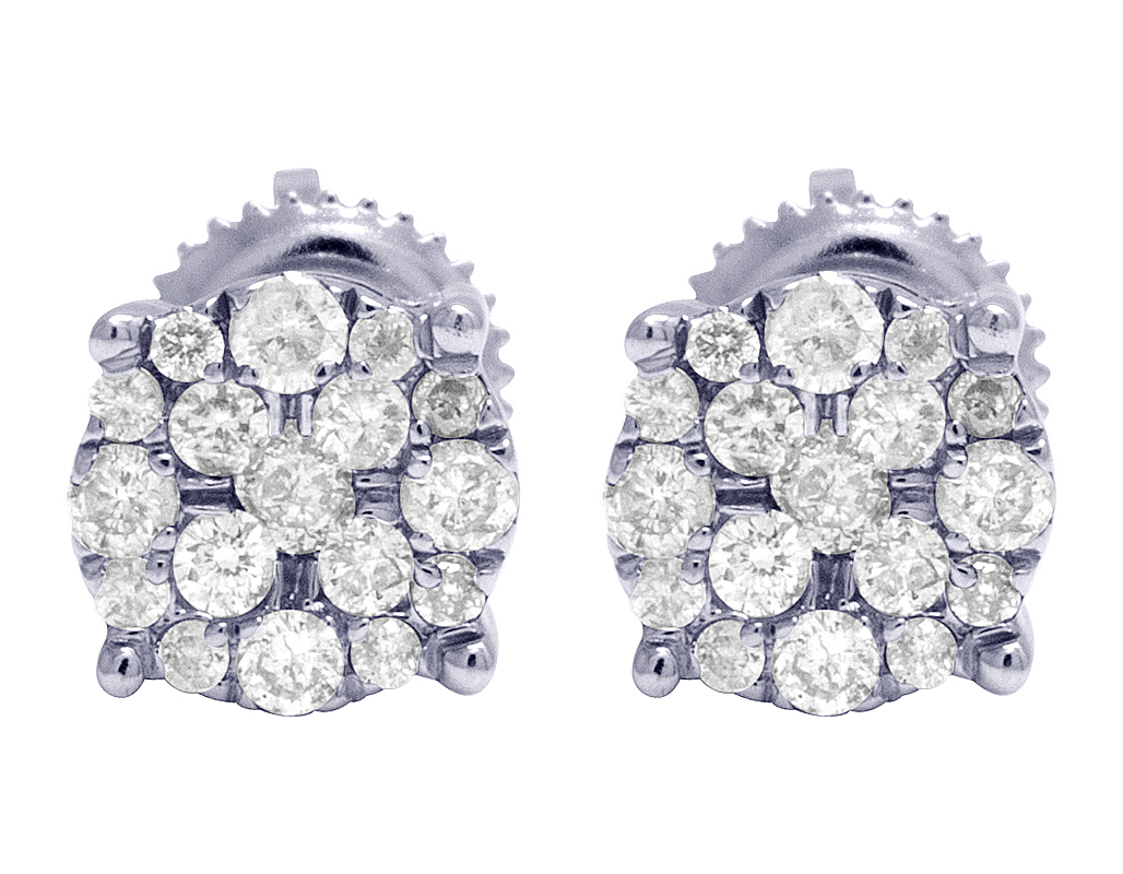 Deal Ladies Men/'s 10K Gold Real Diamond Round Cluster Studs Earring 0.75ctw 7mm