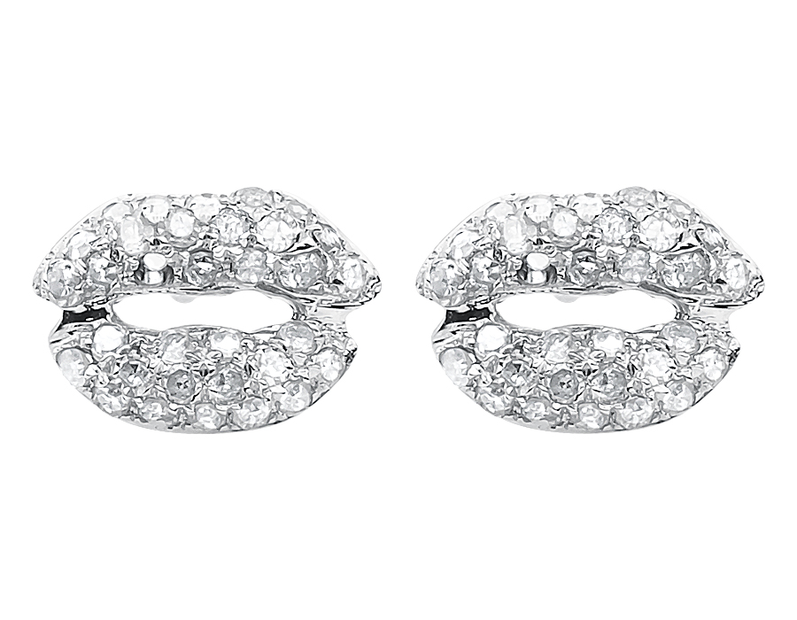 10k White Gold Ladies Round Pave Diamond Mini Lips Studs Earrings